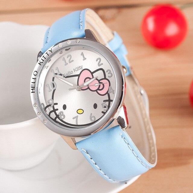 Cute Children's Watch Cartoon hellokitty PU Leather Wristwatch hour clock Quartz Wrist Watch for Girl Student hellokitty