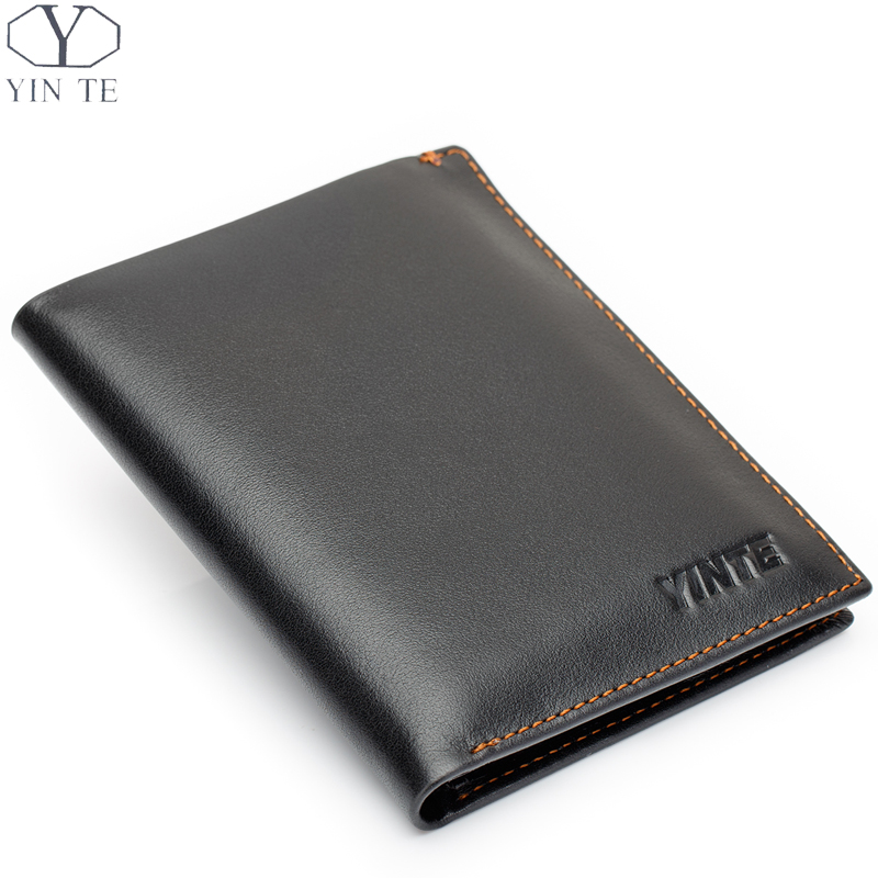 ФОТО YINTE Leather Men's Wallet Genuine Leather Casual Purse Card Holder Black Wallet Two Layers Clip Pocket Wallet PortfolioT0838B