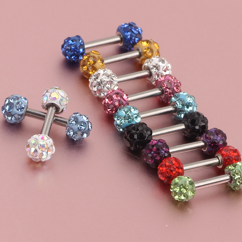 30piece Ear Cartilage Tragus Stud Ring Earring Barbell 1.2*6*3.5mm Crystal Ball Nose Lip Tongue Bar Body Piercing