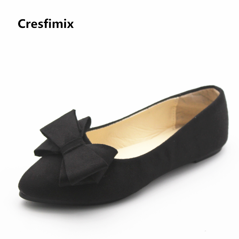 Cresfimix sapatos femininas women fashion spring & summer slip on flat shoes with bow tie lady leisure black flats female shoes cresfimix women cute spring and summer slip on flats sapatos femininas female black soft pu leather comfortable flat shoes
