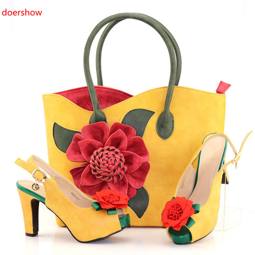 doershow Nigerian Style Woman Shoes And Bag Set Latest yellow Italian Shoes And Bag Set For Party Dress Free Shipping SAB1-3 doershow latest style african shoes and bag set new italian high heels shoes and matching bag set for party dress kh1 21