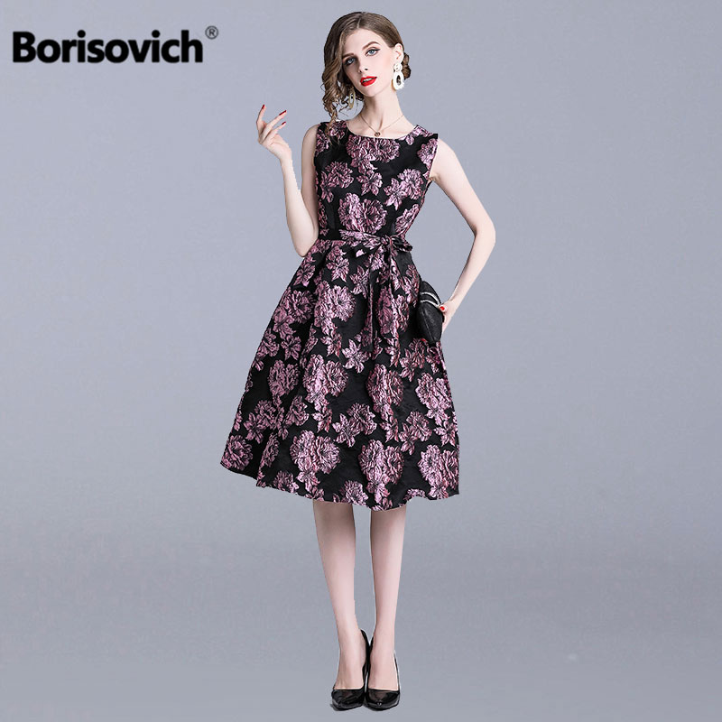 Borisovich Vintage Big Swing A line Ladies Party Dress New 2019 Spring Fashion Sleeveless Elegant Slim