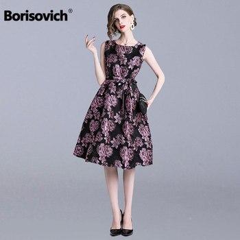 dbd5a1bcc Borisovich Vintage grande Swing vestido de mujer vestido de fiesta nueva  primavera de 2019 de moda sin mangas elegante Slim mujeres vestidos  casuales N663