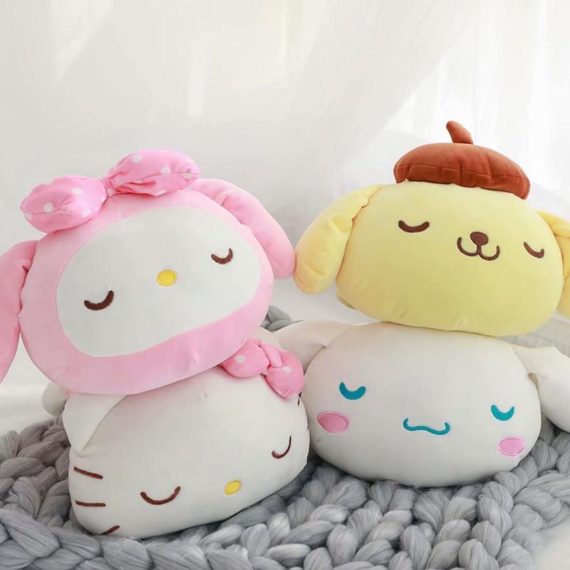 1pc 40cm Cartoon My Melody Pom Pom Purin Cinnamoroll Dog Funny Soft Plush Doll Head Pillow Cushion Creative Girl Stuffed Toy