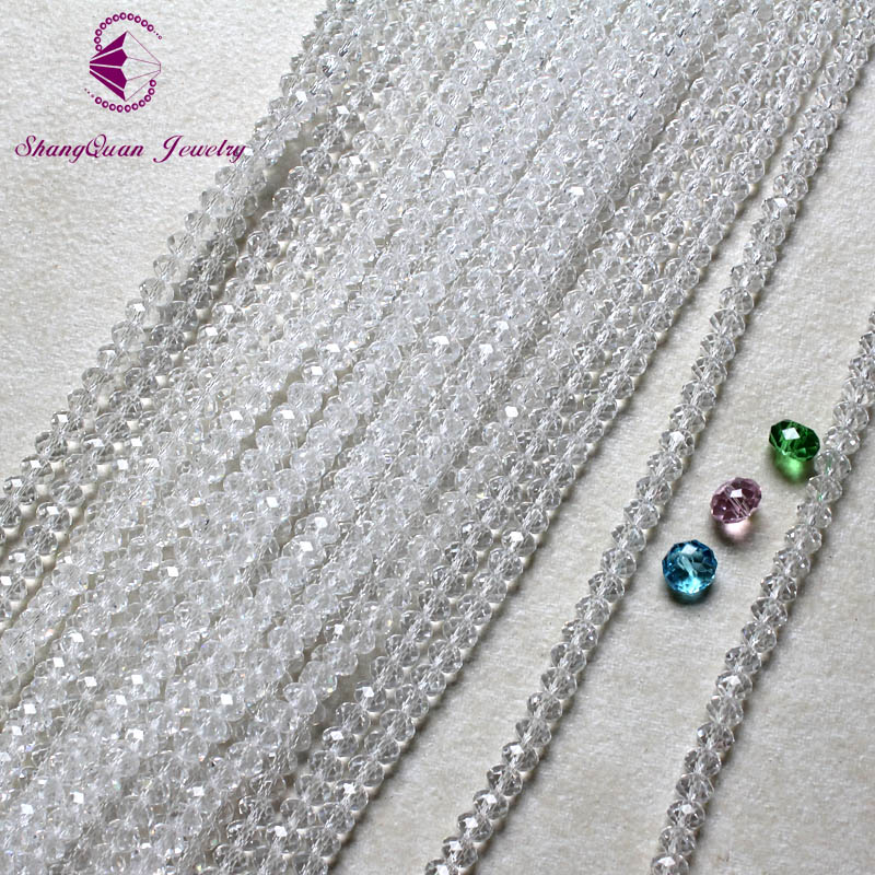 ~Bracelets 1 STRAND 72 CLEAR AB CRYSTAL FACETED 8mm RONDELLE BEADS 5040 48A