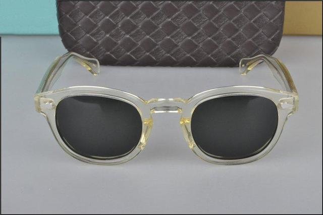 Retro Vintage Johnny sunglasses clear yellow with dark-green lens