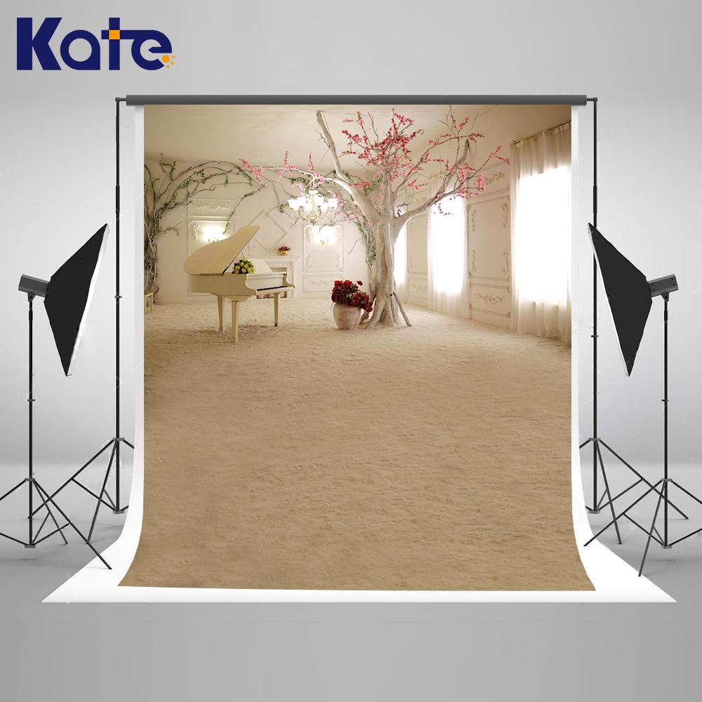 5x7FT Kate Wedding Photography Backdrop Indoor White Piano And Long Curtain Backdrops Floral Wedding Romantic Background Photo