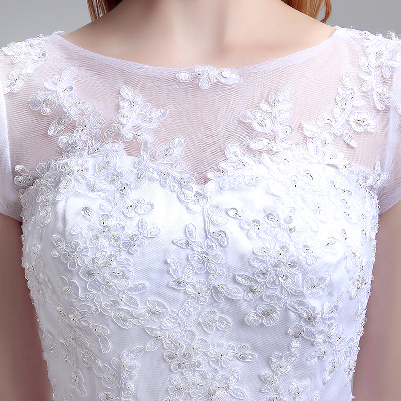 Simple Tea Length Lace Appliques Wedding Dresses Tulle A Line Cap Sleeve Little White Dress Cheap Short Bridal Party Gowns LX183 6