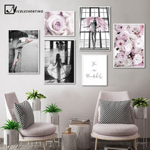 Pink Rose Flower Angel Wing Picture Scandinavian Fashion Poster Nordic Print Wall Art Canvas Painting Modern Living Room Decor(China)
