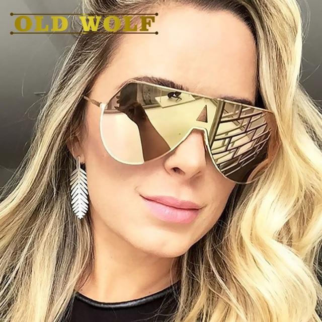 f60f7c495c 2017 de La Moda de Marca gafas de Sol para las mujeres Gran marco de oro