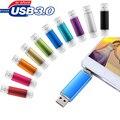 OTG USB 3.0 Flash Drive 64G 32G Pen Drive Capacidade Real 16G de Flash Pendrive Stick USB Duplo Plugue 8G Smart Phone USB disco