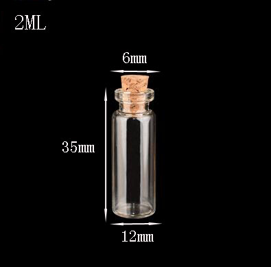 300pcs 12 35mm High quality small Clear Cork stopper Glass Bottle Vials sample tube jars 2