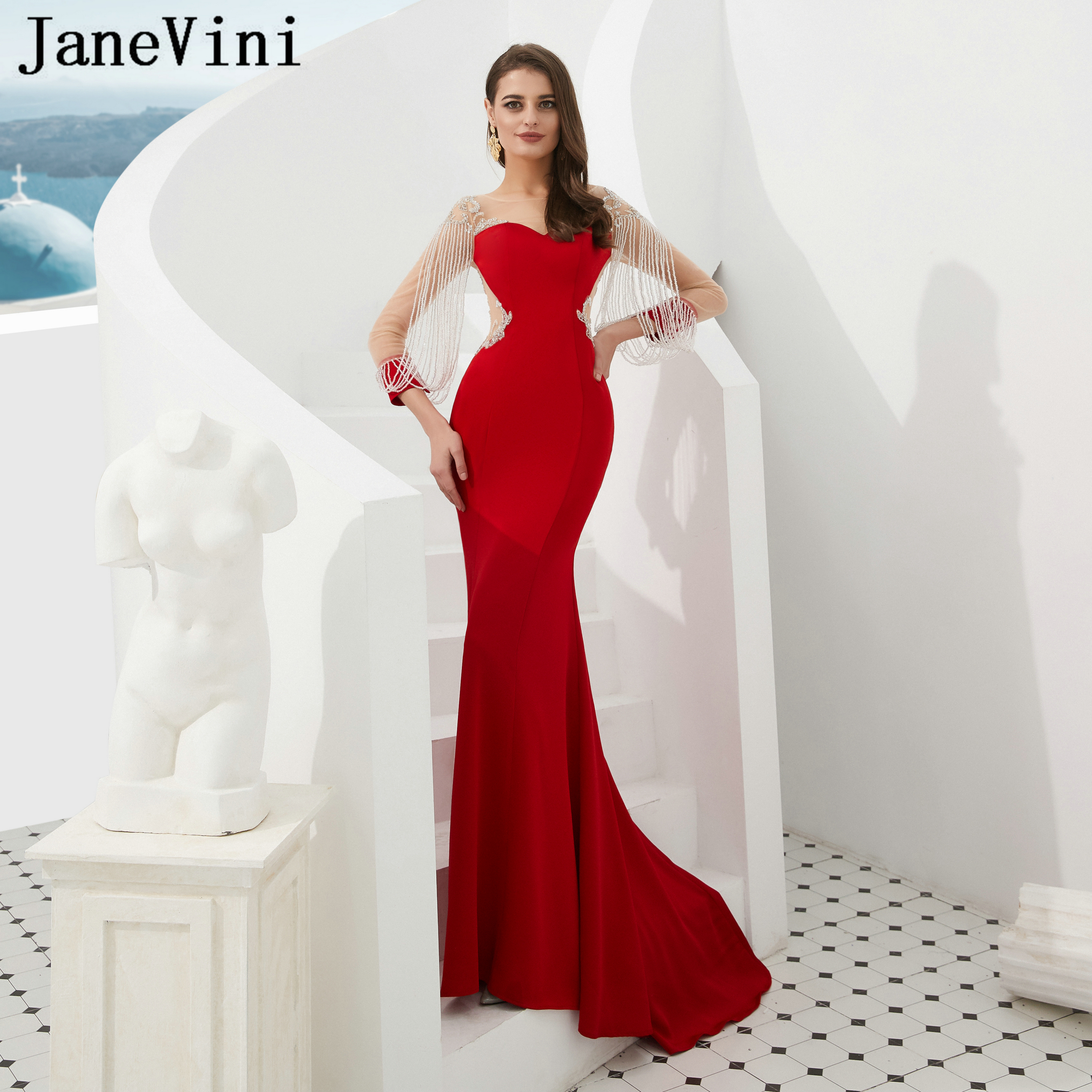 JaneVini Luxury Beading Red Long Sleeves   Evening     Dresses   Mermaid Satin Sweep Train Sheer Back Formal Party Gowns Robe De Soiree