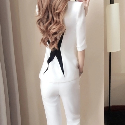 New women's spring fashion small suit two-piece spring black and white stitching suit suit female 5