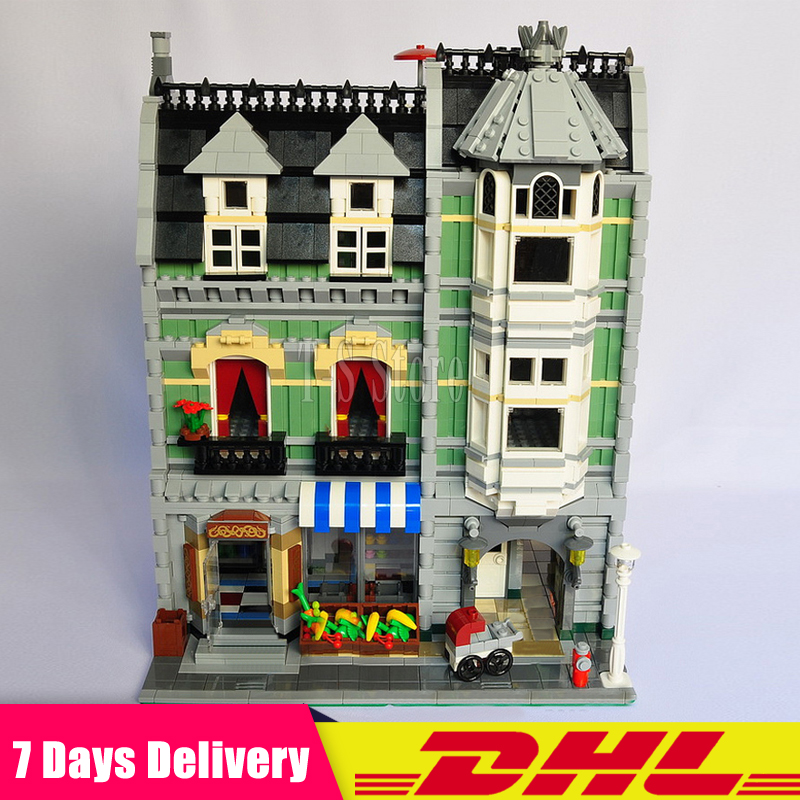 Clone 10185 DHL IN Stock LEPIN 15008 2462Pcs Green Grocer City Street Model Building Blocks Bricks Figures Modular Set Gift Toys lepin 15008 2462pcs city street green grocer legoingly model sets 10185 building nano blocks bricks toys for kids boys