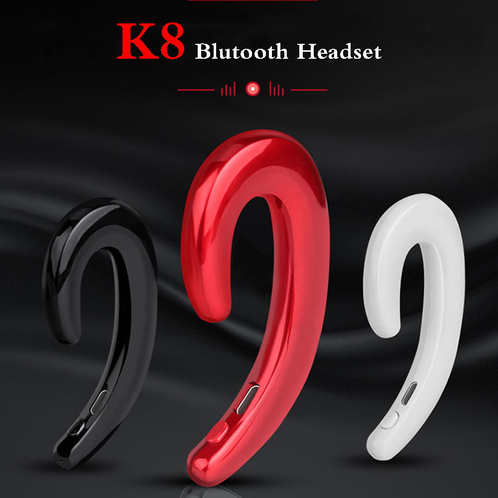 K8 Wireless Bluetooth Earphone with Microphone Stereo Handsfree Headsets No Earplug Earbuds for iPhone X 8 7 6 S Android Phone