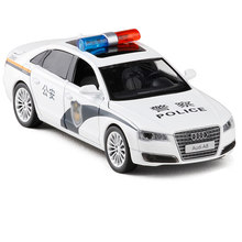 1:32 Audi A8 Police Alloy Car Model Metal Toy Vehicles With Pull Back flashing Musical For Kids Toys No Box V074(China)