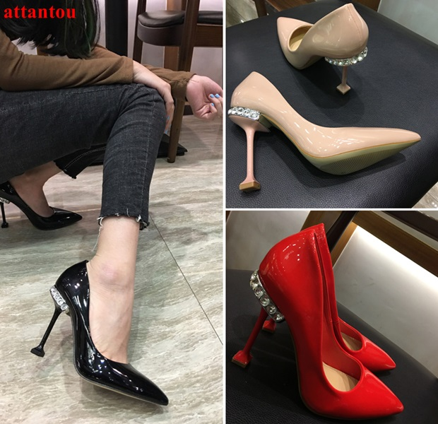 Luxury crystal heelpiece woman high heels Special metal heel design female party wedding dress shoes pointed toe sexy pumps