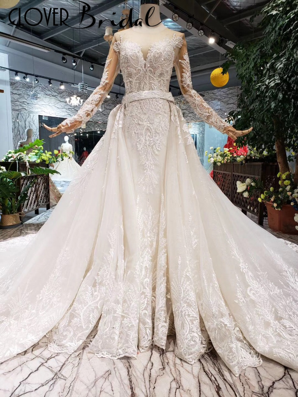 CloverBridal high quality Europe America style long sleeves lace tulle mermaid wedding dresses 2019 with removable long train