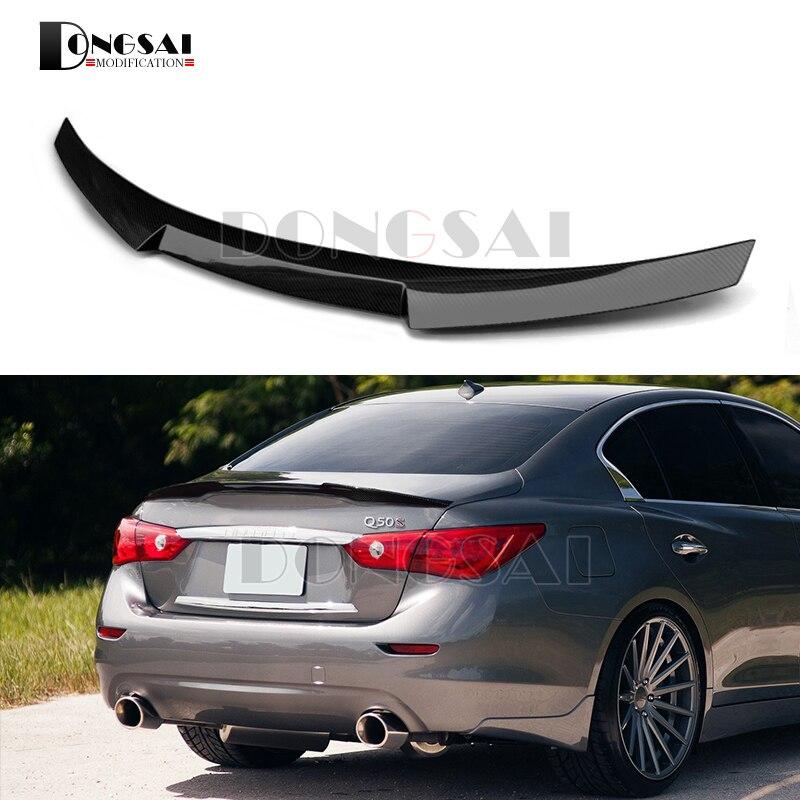Rear Trunk Spoiler Tail Wing For Infiniti Q50 Carbon Fiber Spoiler 2014 + Sedan все цены