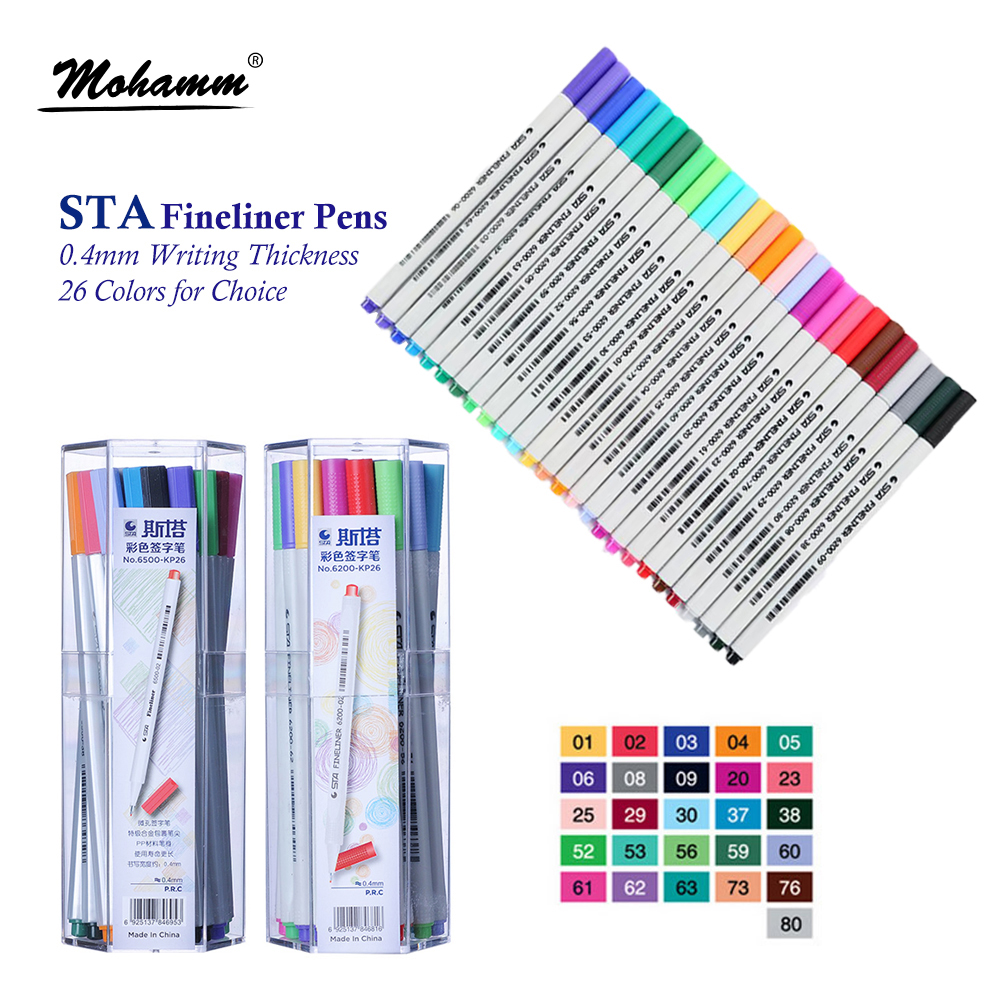 26 Colors STA Fineliner Pens 0.4mm Ultra Fine Tip Colored Pen Watercolor Based Micron Marker Pen Set Perfect for Sketch Drawing sta 12 24 colors brush pen set water based ink twin tip watercolor markers pen drawing for manga school art supplies rotulador