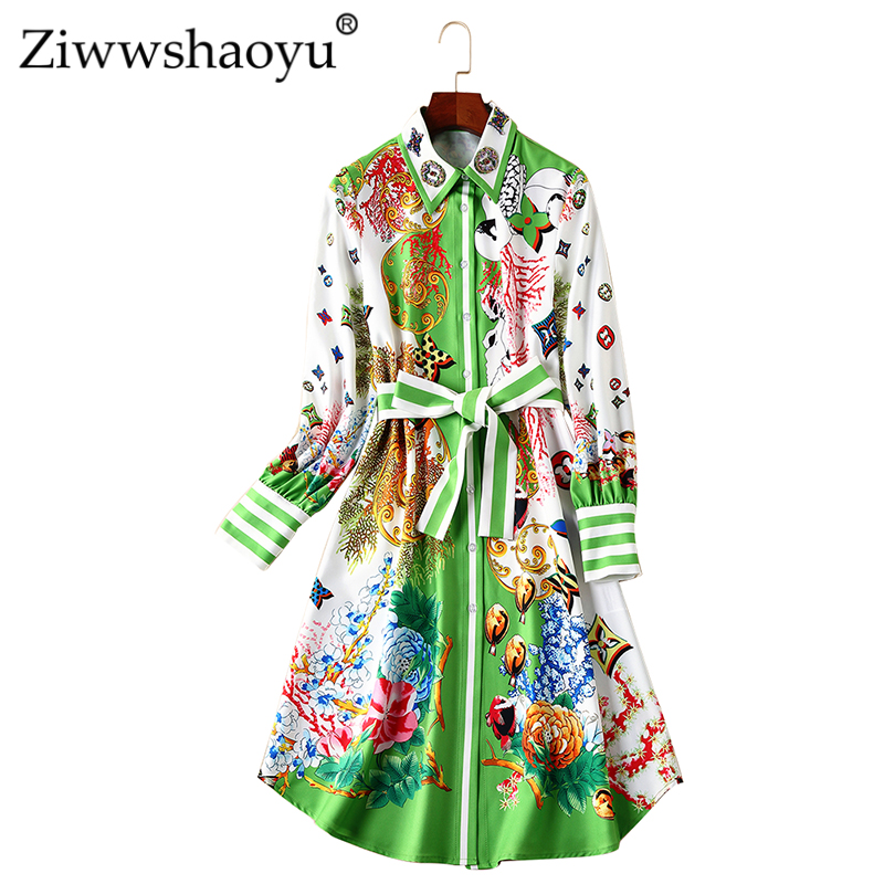 Women's Clothing Ziwwshaoyu Fashion Sexy Cardigan Dress Vintage Turn-down Collar Single-breasted A-line Print Dress 2019 Spring New Women