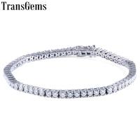 Transgems Solid 14 к 585 белый и желтое золото классический 4.08CTW GH цвет 2,5 мм Муассанит теннис браслет для женщин Свадебные 1 шт
