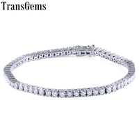 Transgems Solid 14K 585 White and Yellow Gold Classic 4.08CTW GH Color 2.5mm Moissanite Tennis Bracelet For Women Wedding 1PCS