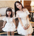 High quality Mother Daughter Summer Style beautiful princess Dresses lady and girl party white dress Family Matching Outfits