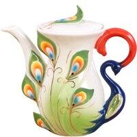 3 Color Creative Ceramic Tea pot Peacock Porcelain Teapot KungFu Tools Tea Pot Set Coffee Drinkware Tea Ceremony Gift