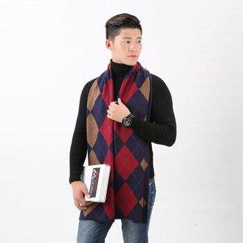 [FEILEDIS] 2017 Otoño e Invierno bufanda de cachemir británica para hombres bufanda de negocios de enrejado grueso cálido FD159