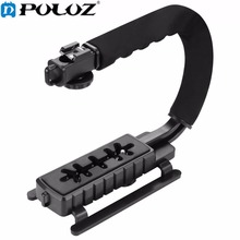 PULUZ U-shaped Grip Triple Shoe Mount Video Action Stabilizing Handle Grip Camera Grip Rig For Canon For Sony DSLR Camera Phone