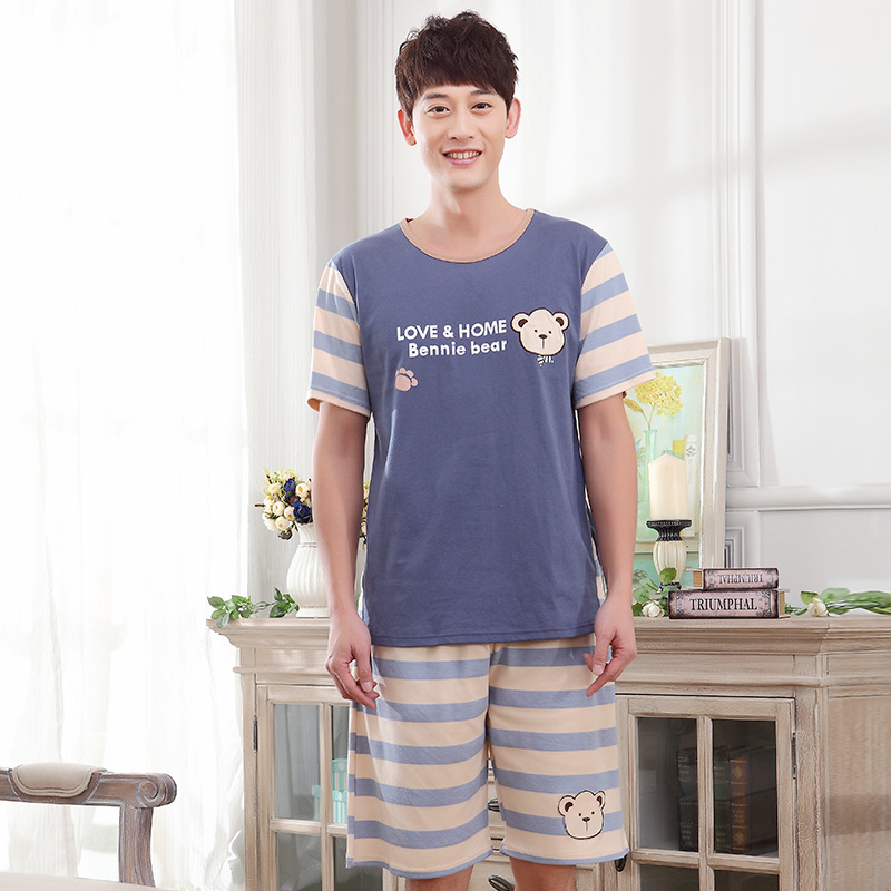 Men summer men's Korean cotton home pajamas 2019 new short sleeve shorts teen cute set pajama sets mens pajama set(China)