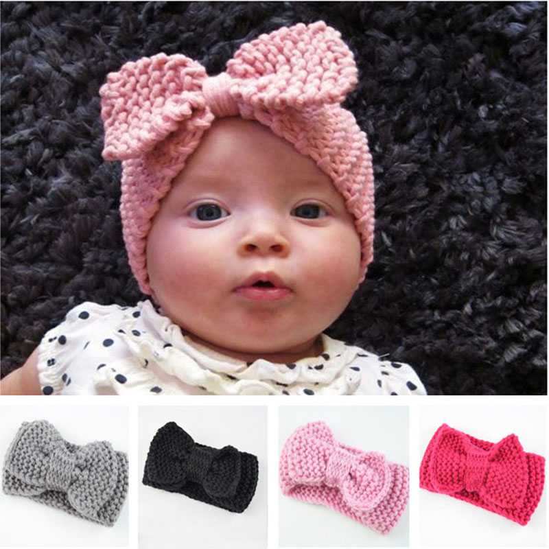 Yundfly Sweet Newborn Turban Ear Warm Headband Crochet Knitted Bow Hairband Head Wrap Hair Bands Accessories