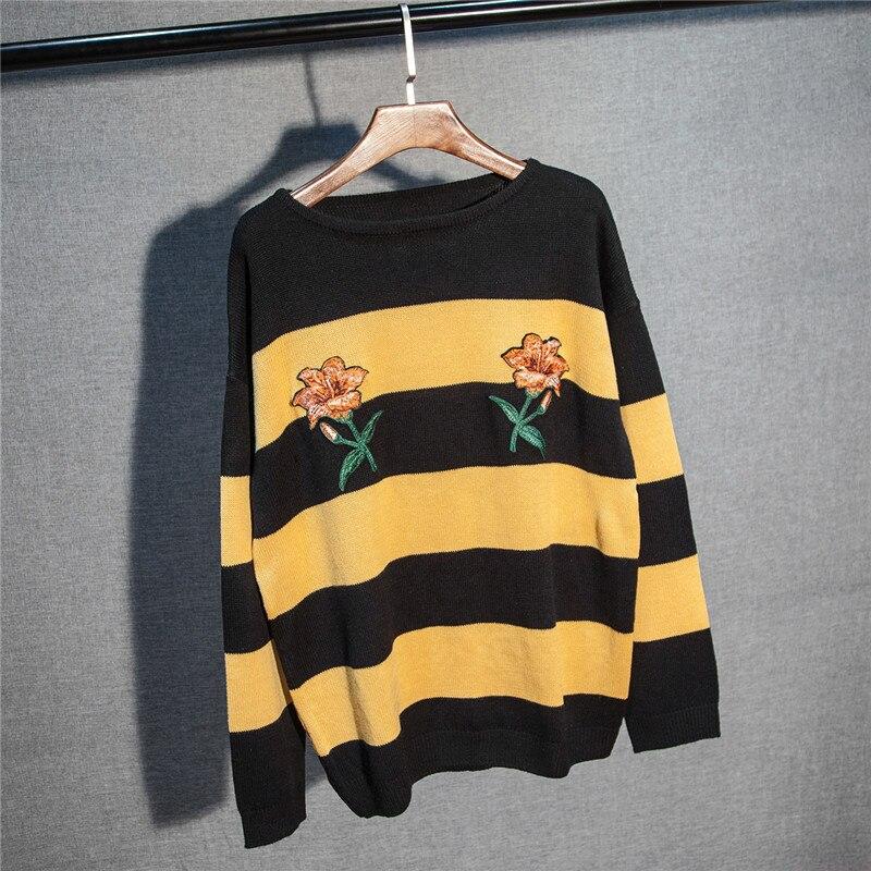 Новая мода женский осенне-зимний свитер с цветочной вышивкой пуловеры повседневные теплые женские трикотажные свитера пуловеры Леди - Цвет: Цвет: желтый
