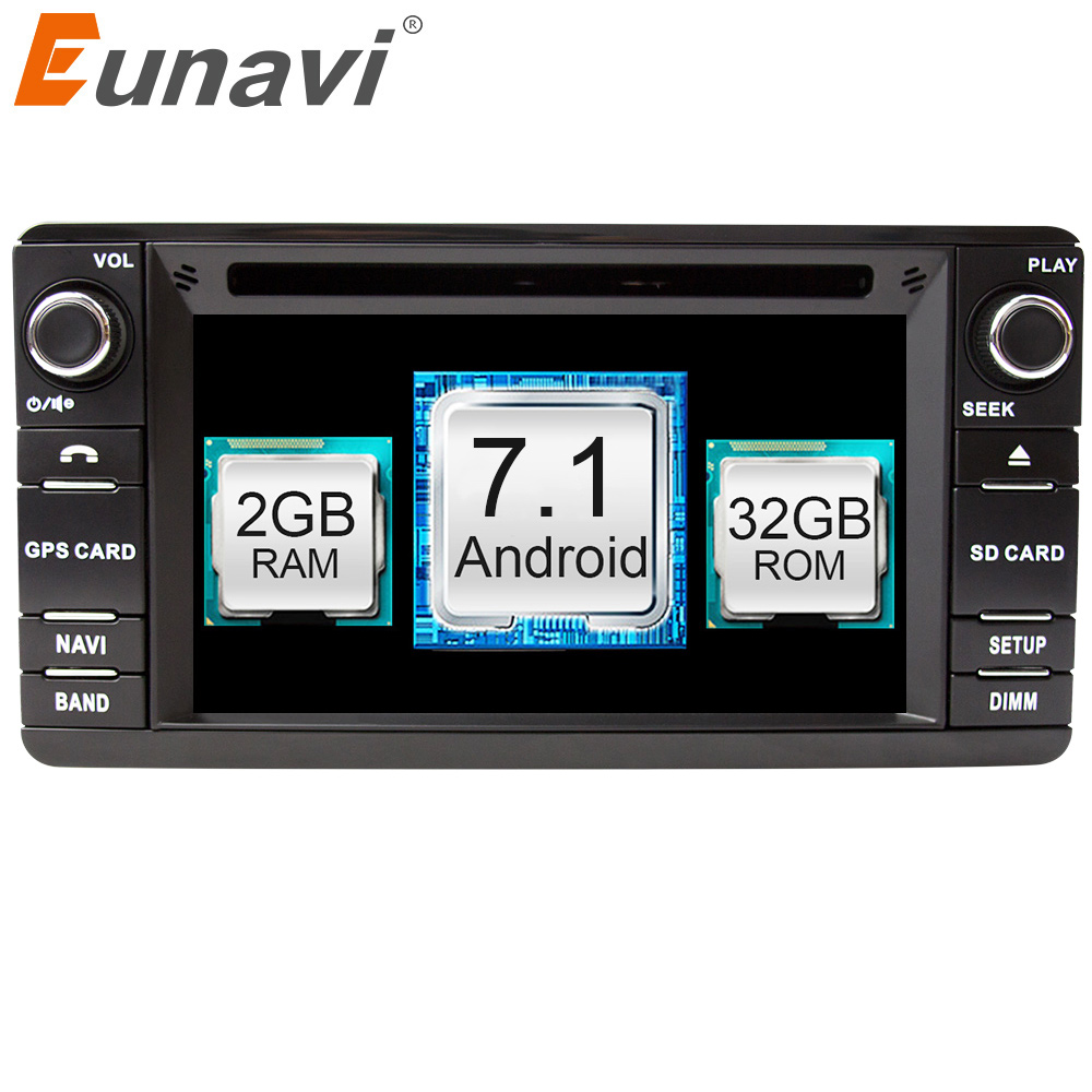 Eunavi 2 Din Android 7.1 Car DVD Player For Mitsubishi Outlander 2013-2016 Pajero Radio Stereo GPS Navigation Touch screen WIFI car tempered glass screen dvd gps lcd guard stereo multimedia protective film sticker for mitsubishi asx outlander lancer pajero