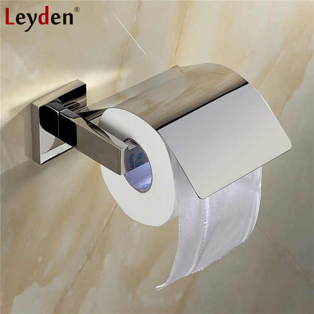 Leyden Toilet Paper Holder Cover Sus304 Stainless Steel Wall Mounted Brushed Nickel Chrome Bathroom Tissue