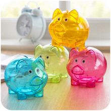 Cute piggy bank for paper money transparent plastic coin Kids Child Gift moneybox