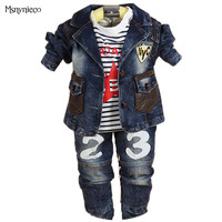 Children Clothing Sets Baby Boys Clothes Set Casual Kids Denim Jacket+t shirt+pant 3pcs Suit Sets Infant Toddler Baby Clothing
