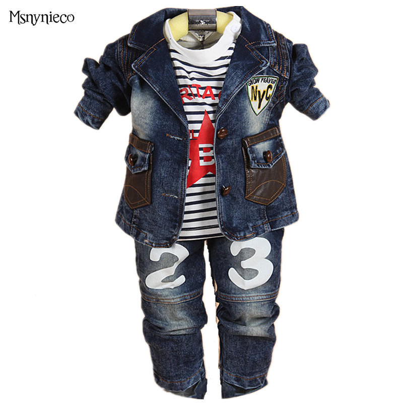 Enfants vêtements ensembles bébé garçons vêtements décontracté enfants Denim veste + t-shirt + pantalon 3 pièces costume ensembles infantile bambin bébé vêtements