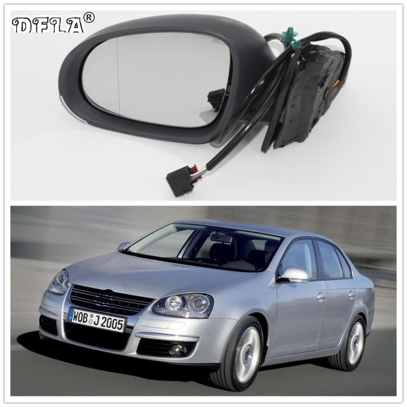 For VW Jetta V MK5 2006 2007 2008 2009 2010 Car-styling Heated Electric Wing Side Rear Mirror Left Driver Side car rear trunk security shield shade cargo cover for kia sportag 2007 2008 2009 2010 2011 2012 2013 black beige