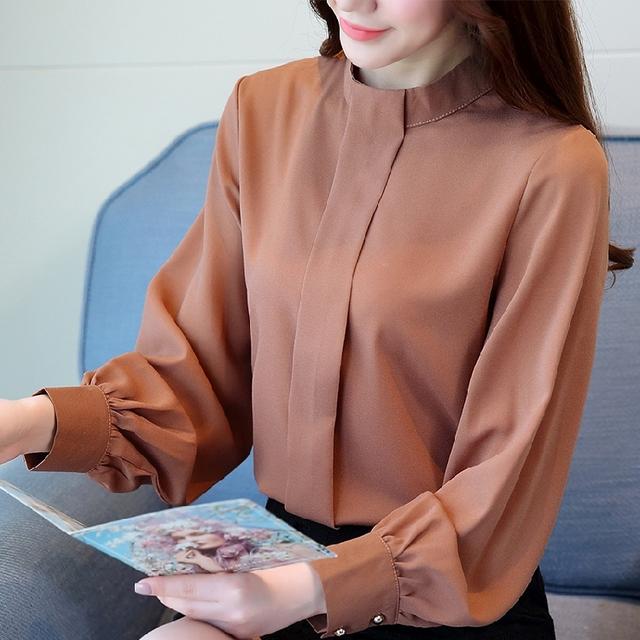 New Fashion 2018 women blouse shirt long sleeve plus size women's clothing red office lady shirt feminine tops blusas D208 30