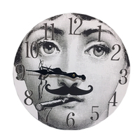 Fornasetti Wall Decorative Clock Lina Cavalieri New Design Nordic Style Decor for Home Bar Hotel Adornment Wooden Hanging Clock