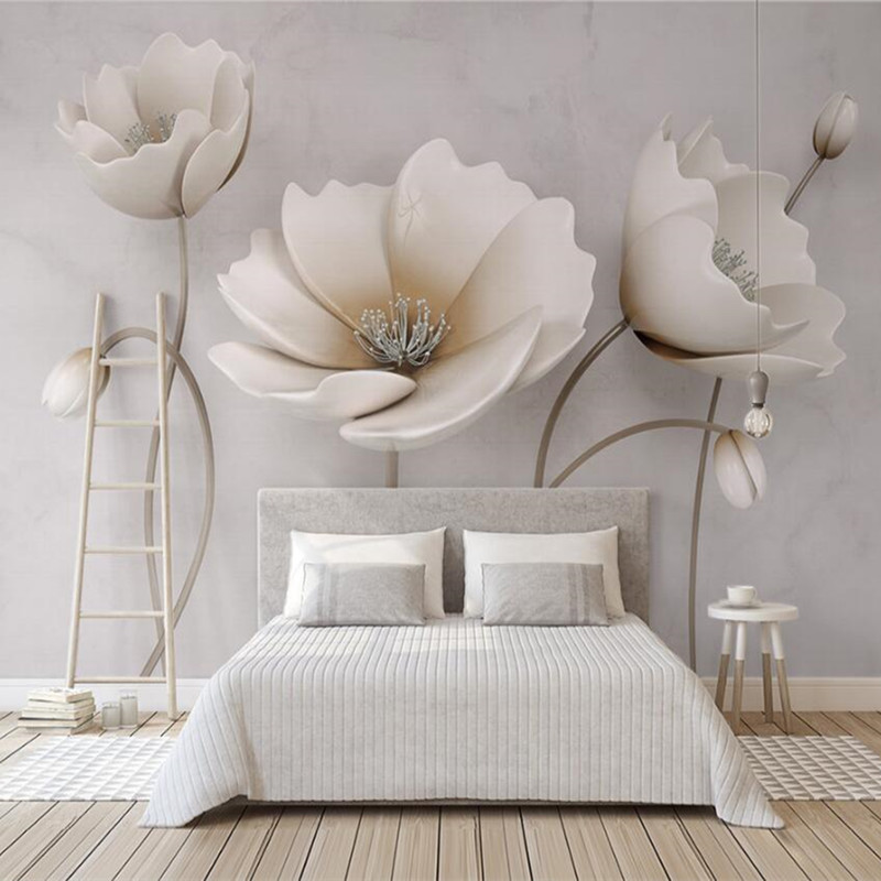 Custom 3D Photo Wallpaper Murals 3D Elegant Flower Marble Texture Hotel Sofa TV Background Wall Living Room Bedroom Wall Decor shinehome black white cartoon car frames photo wallpaper 3d for kids room roll livingroom background murals rolls wall paper