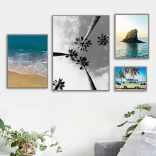 Nordic Poster Landscape Reef Sea Beach Palm Tree Bus Travel Prints Wall Art Canvas Painting Wall Pictures For Living Room Decor вьетнамки reef day prints palm real teal