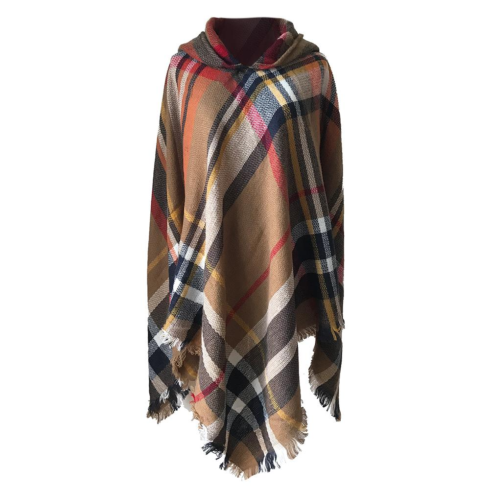 New Autumn And Winter Fashionable Women Colorful Large Plaid Hooded Windbreaker Hot Sale Keep Warm Casual Loose Wild Coat