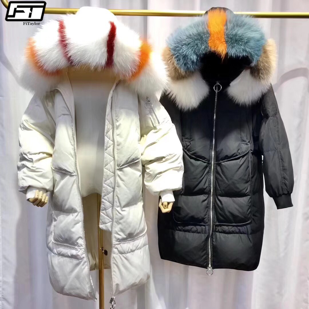 Fitaylor Winter Large Real Raccoon Fur Collar Down Parkas Women Loose Fit 90% Duck Down Hooded Jacket Female Snow Coat Outwear