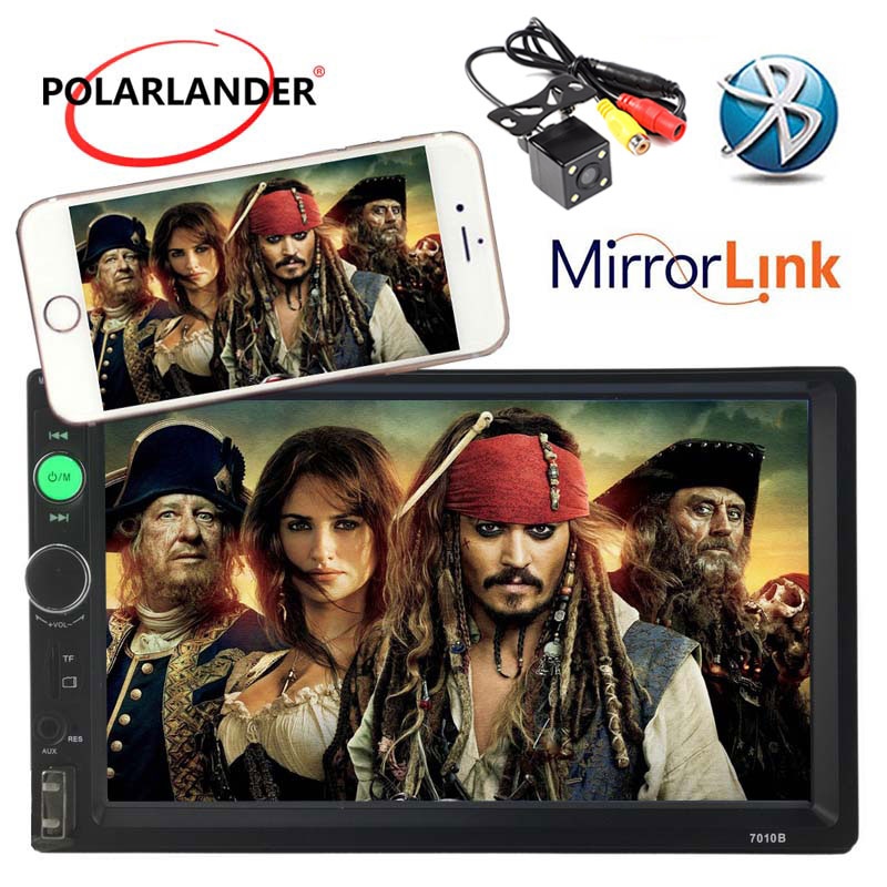 Car Stereo Bluetooth Radio HD 7 INCH 2 DIN Touch Screen Mirror Link TF/USB/AUX MP4/MP5 Head Unit Support Rear View Camera Player 7 inch touch screen bluetooth mp5 car rear view mirror monitor tf usb 800 480 lcd fpv bt mirror pal ntsc for car or truck bus