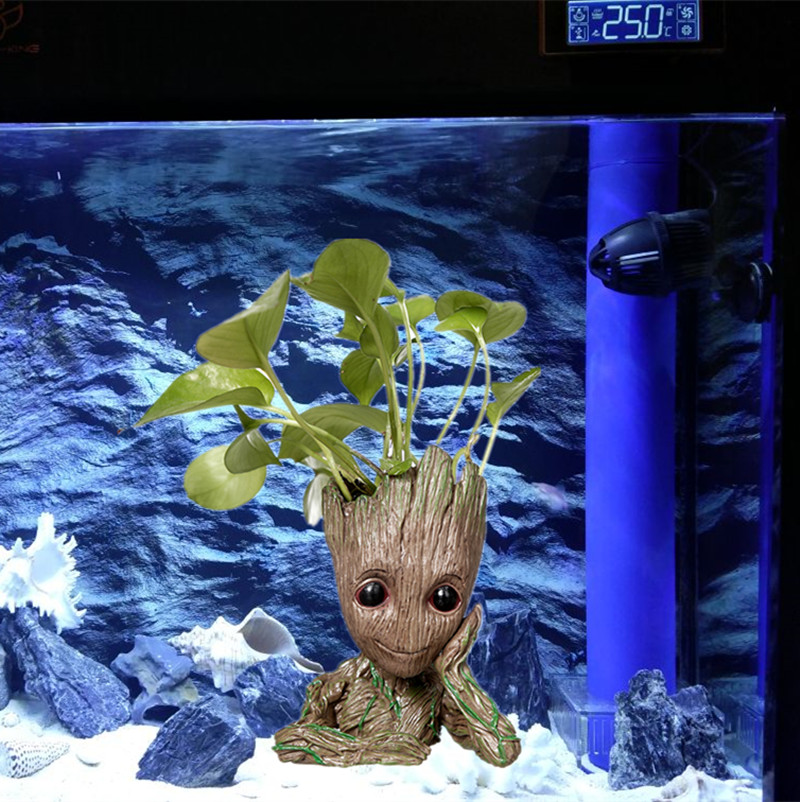 Lindo árbol hombre figura jardín acuario planta bonsái olla piedra decoración pecera ornamento roca refugio para peces camarones