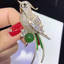 SHANICE Enameled Micro Pave CZ Cubic Zirconia Korea bird brooch high-end suit collar needle shirt collar pin buckle pin women